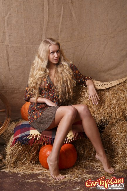 Красивая блондинка на сене фото